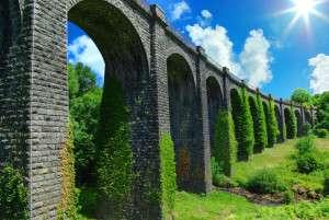Picturesque landscape with ancient railway bridge. France